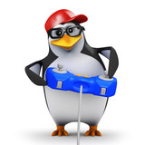 3d Penguin in baseball cap plays videogame poster