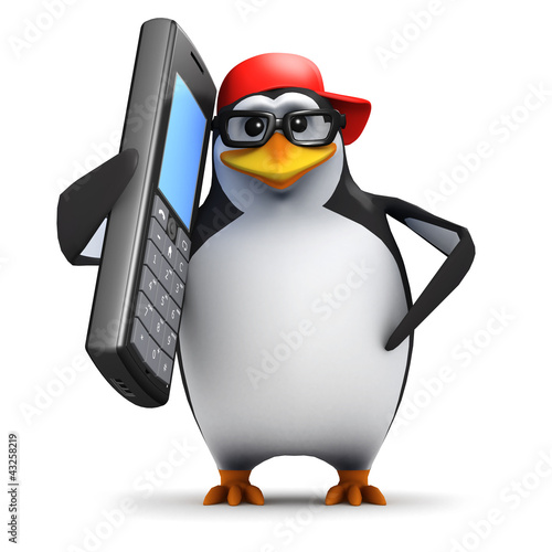3d Penguin in baseball cap on mobile phone