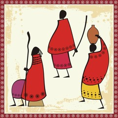 Vector African Masai People Illustrations