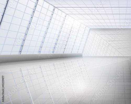 Interior of glass building. Vector illustration.