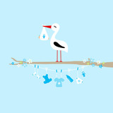 Stork On Tree Clothes Line Baby Symbols Boy