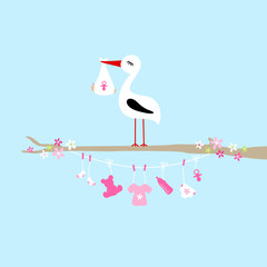 Stork On Tree Clothes Line Baby Symbols Girl