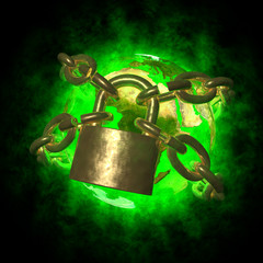 Green Earth with aura breaking golden chain
