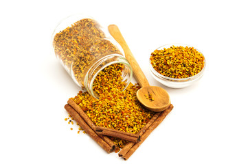 Bee Pollen and cinnamon isolated