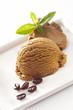 Serving of creamy coffee icecream