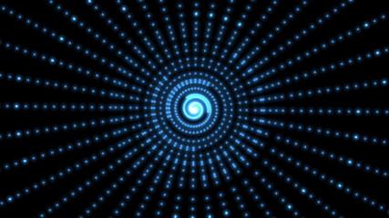 Randomly changing spiral pattern of lights.
