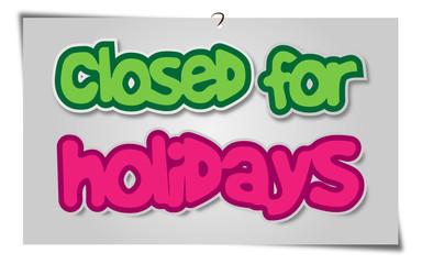 Closed Holidays