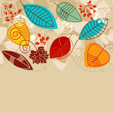 Fall background with leaves in bright colors