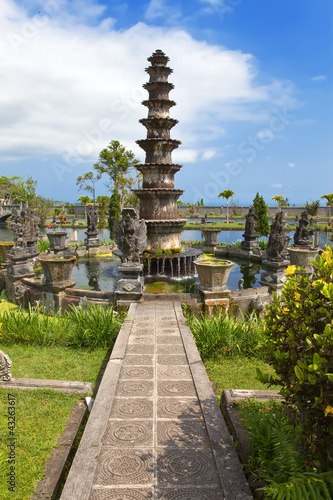 Fountain in Imperial swimming baths.(Taman Tirta Gangga) Bali