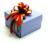 Gift Box with Colorful Ribbons on White Background
