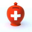 money box with switzerland flag