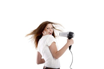 young beauty with hairdryer (white background)
