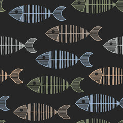 Seamless Tile With 50s Retro Fish Bone Pattern