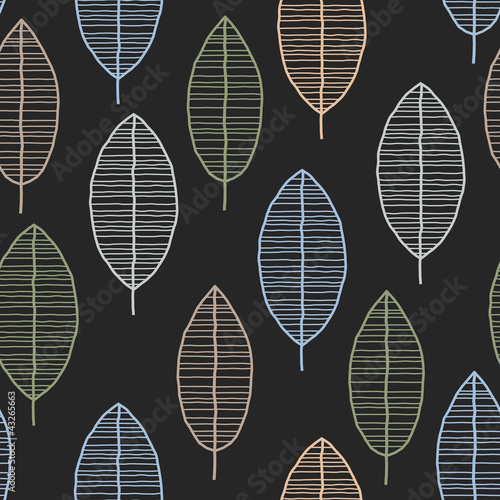 Seamless Tile With 50s Retro Leaf Pattern
