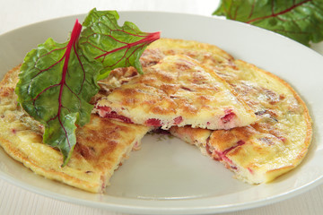 Omelette with a red chard
