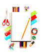 Notebook with pencil and colorful school supplies