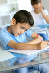 Closeup of young boy writing on notebook at school