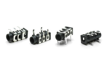 Four female connectors for 3.5mm jacks