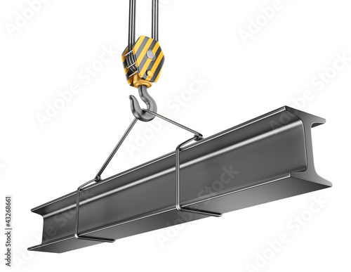Crane hook  with steel girder 3D. Isolated on white background