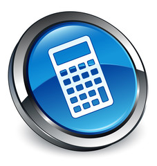 Calculator icon 3D blue button