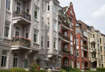 Historistische Fassaden in Kiel, Deutschland