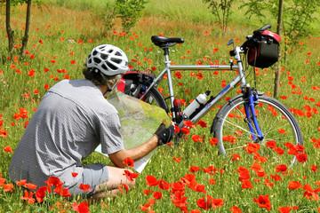 Radpause in Mohnwiese - Break in a poppy field