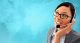 Telemarketing headset woman from call center smiling happy talki poster