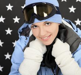 Happy girl  in the winter sportwear