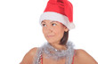 Beautiful smiling christmas santa woman