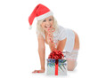 Beautiful christmas woman in santa hat and white stockings with