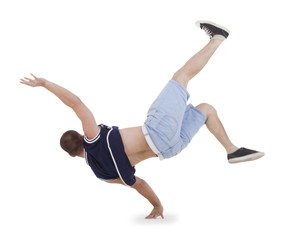 Teenager dancing breakdance in action