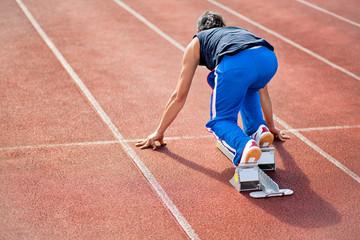 Läufer im Startblock