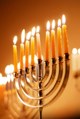 Brightly Lit Hanukkah Candles