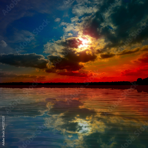 lake at the sunset
