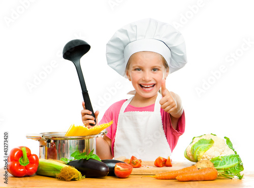 girl with spaghetti and vegetables