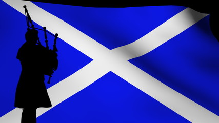 bag piper silhouette with rippling Scottish flag animation