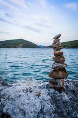 Pile of stones on a seashore
