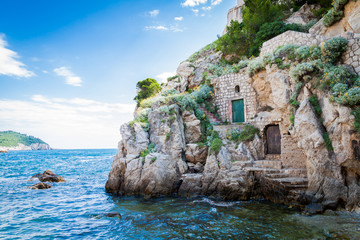 Doors on a cliff in Dubrovnik, Croatia
