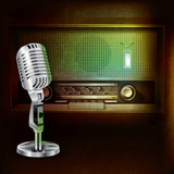 Fototapety abstract background with retro radio and microphone