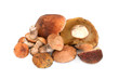 Heap of mushrooms isolated on white