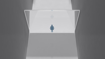 Stylized female figure smashes through a thick sheet of glass.
