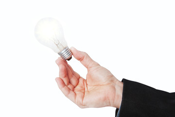 A lighted lamp in his hand. On a white background.