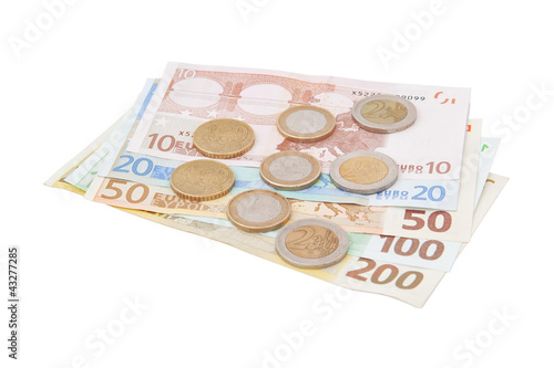 Financial signs: centimes, the Euro-banknotes.