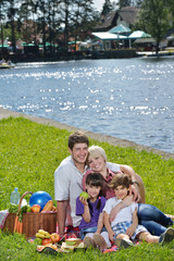 Happy family playing together in a picnic outdoors