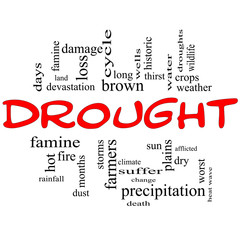 Drought Word Cloud Concept in Red and Black