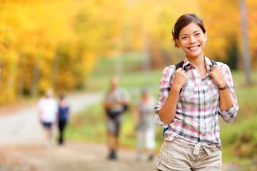 Autumn hiking girl