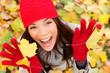 Happy autumn woman