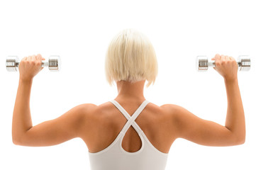 Muscular white fitness woman hold weights white