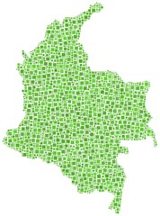 Map of Colombia - Latin America - in a mosaic of green squares
