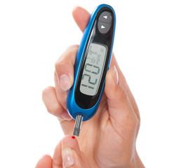 measuring glucose level blood test using ultra mini glucometer